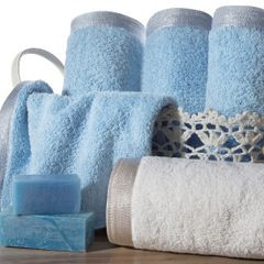 Ręcznik z bawełny z błyszczącym brzegiem 50x90cm różowy - 50 X 90 cm - liliowy 7