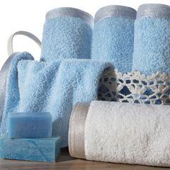 Ręcznik z bawełny z błyszczącym brzegiem 70x140cm biały - 70 X 140 cm - stalowy 7