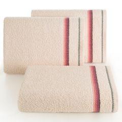 Ręcznik z tęczowym haftem na bordiurze 50x90cm - 50 X 90 cm - różowy 1