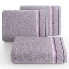 Ręcznik z tęczowym haftem na bordiurze 30x50cm - 30 X 50 cm - liliowy 1