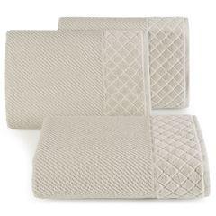 Ręcznik z bawełny z miękką bordiurą w kosteczkę 50x90cm beżowy - 50 X 90 cm - beżowy 1