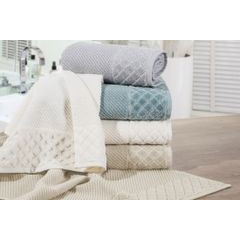 Ręcznik z bawełny z miękką bordiurą w kosteczkę 50x90cm beżowy - 50 X 90 cm - beżowy 3
