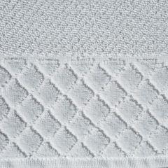 Ręcznik z bawełny z miękką bordiurą w kosteczkę 50x90cm  - 50 X 90 cm - srebrny 7