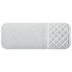Ręcznik z bawełny z miękką bordiurą w kosteczkę 50x90cm  - 50 X 90 cm - srebrny 2