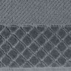 Ręcznik z bawełny z miękką bordiurą w kosteczkę 50x90cm kremowy - 50 X 90 cm - stalowy 7