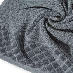 Ręcznik z bawełny z miękką bordiurą w kosteczkę 50x90cm kremowy - 50 X 90 cm - stalowy 10