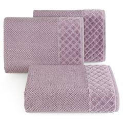 Ręcznik z bawełny z miękką bordiurą w kosteczkę 50x90cm ciemnoróżowy - 50 X 90 cm - liliowy 1