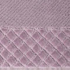 Ręcznik z bawełny z miękką bordiurą w kosteczkę 50x90cm ciemnoróżowy - 50 X 90 cm - liliowy 4