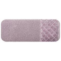 Ręcznik z bawełny z miękką bordiurą w kosteczkę 50x90cm ciemnoróżowy - 50 X 90 cm - liliowy 2