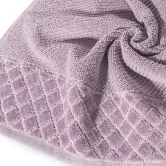 Ręcznik z bawełny z miękką bordiurą w kosteczkę 50x90cm ciemnoróżowy - 50x90 - różowy 2
