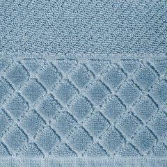 Ręcznik z bawełny z miękką bordiurą w kosteczkę 50x90cm ciemnoniebieski - 50 X 90 cm - niebieski 4