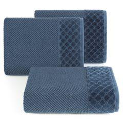 Ręcznik z bawełny z miękką bordiurą w kosteczkę 50x90cm granatowy - 50 X 90 cm - granatowy 1