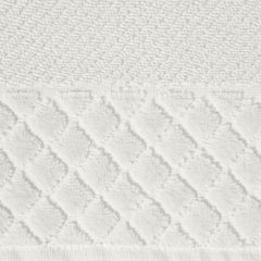 Ręcznik z bawełny z miękką bordiurą w kosteczkę 70x140cm kremowy - 70 X 140 cm - kremowy 7