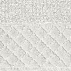 Ręcznik z bawełny z miękką bordiurą w kosteczkę 70x140cm kremowy - 70 X 140 cm - kremowy 8