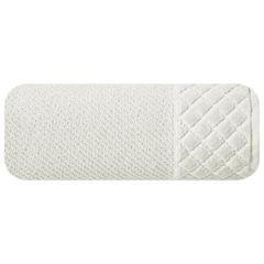 Ręcznik z bawełny z miękką bordiurą w kosteczkę 70x140cm kremowy - 70 X 140 cm - kremowy 2