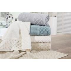 Ręcznik z bawełny z miękką bordiurą w kosteczkę 70x140cm kremowy - 70 X 140 cm - kremowy 3