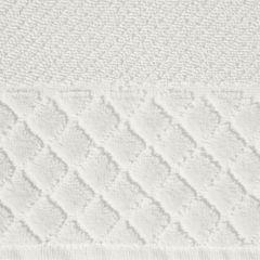 Ręcznik z bawełny z miękką bordiurą w kosteczkę 70x140cm kremowy - 70 X 140 cm - kremowy 4