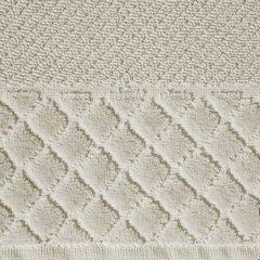 Ręcznik z bawełny z miękką bordiurą w kosteczkę 70x140cm beżowy - 70 X 140 cm - beżowy 4