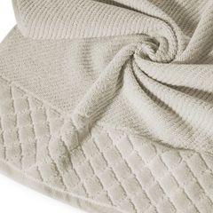 Ręcznik z bawełny z miękką bordiurą w kosteczkę 70x140cm beżowy - 70 X 140 cm - beżowy 10