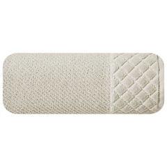 Ręcznik z bawełny z miękką bordiurą w kosteczkę 70x140cm beżowy - 70 X 140 cm - beżowy 2