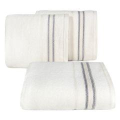 Ręcznik z bawełny z bordiurą podkreśloną srebrną nitką 50x90cm - 50 X 90 cm - kremowy 1