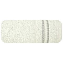 Ręcznik z bawełny z bordiurą podkreśloną srebrną nitką 70x140cm - 70 X 140 cm - kremowy 2