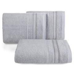 Ręcznik z bawełny z bordiurą podkreśloną srebrną nitką 70x140cm - 70 X 140 cm - srebrny 1