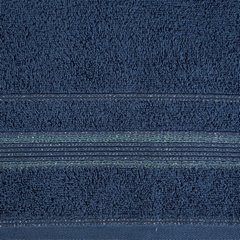 Ręcznik z bawełny z bordiurą podkreśloną srebrną nitką 50x90cm - 50 X 90 cm - granatowy 9