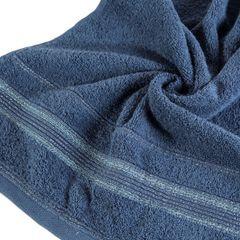 Ręcznik z bawełny z bordiurą podkreśloną srebrną nitką 70x140cm - 70 X 140 cm - granatowy 9