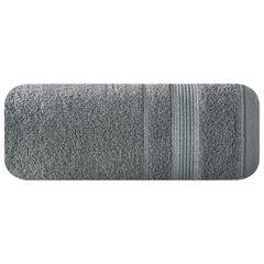 Ręcznik z bawełny z bordiurą podkreśloną srebrną nitką 50x90cm - 50 X 90 cm - stalowy 2