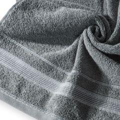 Ręcznik z bawełny z bordiurą podkreśloną srebrną nitką 70x140cm - 70 X 140 cm - stalowy 10