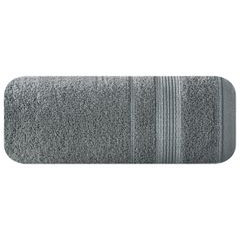 Ręcznik z bawełny z bordiurą podkreśloną srebrną nitką 70x140cm - 70 X 140 cm - stalowy 2