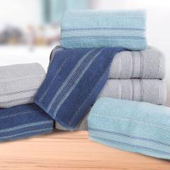 Ręcznik z bawełny z bordiurą podkreśloną srebrną nitką 70x140cm - 70 X 140 cm - stalowy 7