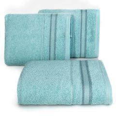 Ręcznik z bawełny z bordiurą podkreśloną srebrną nitką 70x140cm - 70 X 140 cm - turkusowy 1