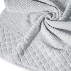 Ręcznik z bawełny z miękką bordiurą w kosteczkę 70x140cm popielaty - 70 X 140 cm - srebrny 2