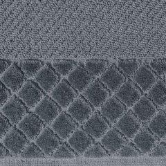 Ręcznik z bawełny z miękką bordiurą w kosteczkę 70x140cm kremowy - 70 X 140 cm - stalowy 9