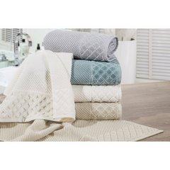 Ręcznik z bawełny z miękką bordiurą w kosteczkę 70x140cm kremowy - 70 X 140 cm - stalowy 10