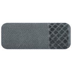 Ręcznik z bawełny z miękką bordiurą w kosteczkę 70x140cm kremowy - 70 X 140 cm - stalowy 2