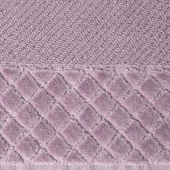 Ręcznik z bawełny z miękką bordiurą w kosteczkę 70x140cm ciemnoróżowy - 70 X 140 cm - liliowy 7