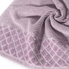 Ręcznik z bawełny z miękką bordiurą w kosteczkę 70x140cm ciemnoróżowy - 70 X 140 cm - liliowy 9
