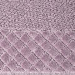 Ręcznik z bawełny z miękką bordiurą w kosteczkę 70x140cm ciemnoróżowy - 70 X 140 cm - liliowy 4