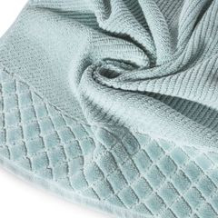 Ręcznik z bawełny z miękką bordiurą w kosteczkę 70x140cm miętowy - 70 X 140 cm - miętowy 5