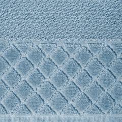 Ręcznik z bawełny z miękką bordiurą w kosteczkę 70x140cm kremowy - 70 X 140 cm - niebieski 8