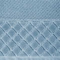 Ręcznik z bawełny z miękką bordiurą w kosteczkę 70x140cm kremowy - 70 X 140 cm - niebieski 4