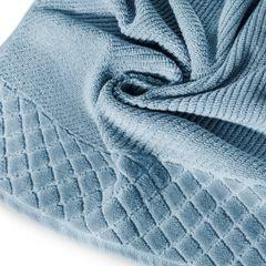 Ręcznik z bawełny z miękką bordiurą w kosteczkę 70x140cm kremowy - 70 X 140 cm - niebieski 2