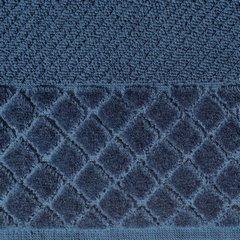 Ręcznik z bawełny z miękką bordiurą w kosteczkę 70x140cm kremowy - 70 X 140 cm - granatowy 9