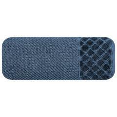 Ręcznik z bawełny z miękką bordiurą w kosteczkę 70x140cm kremowy - 70 X 140 cm - granatowy 2