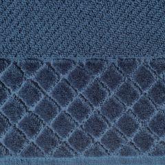 Ręcznik z bawełny z miękką bordiurą w kosteczkę 70x140cm kremowy - 70 X 140 cm - granatowy 4