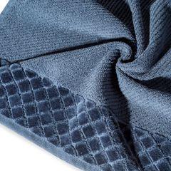 Ręcznik z bawełny z miękką bordiurą w kosteczkę 70x140cm kremowy - 70 X 140 cm - granatowy 5