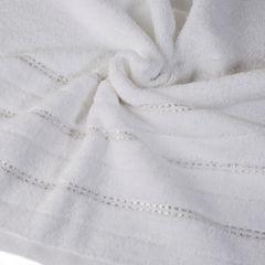 Biały ręcznik kąpielowy z metaliczną nicią - 50x90 cm - 50 X 90 cm - biały 5